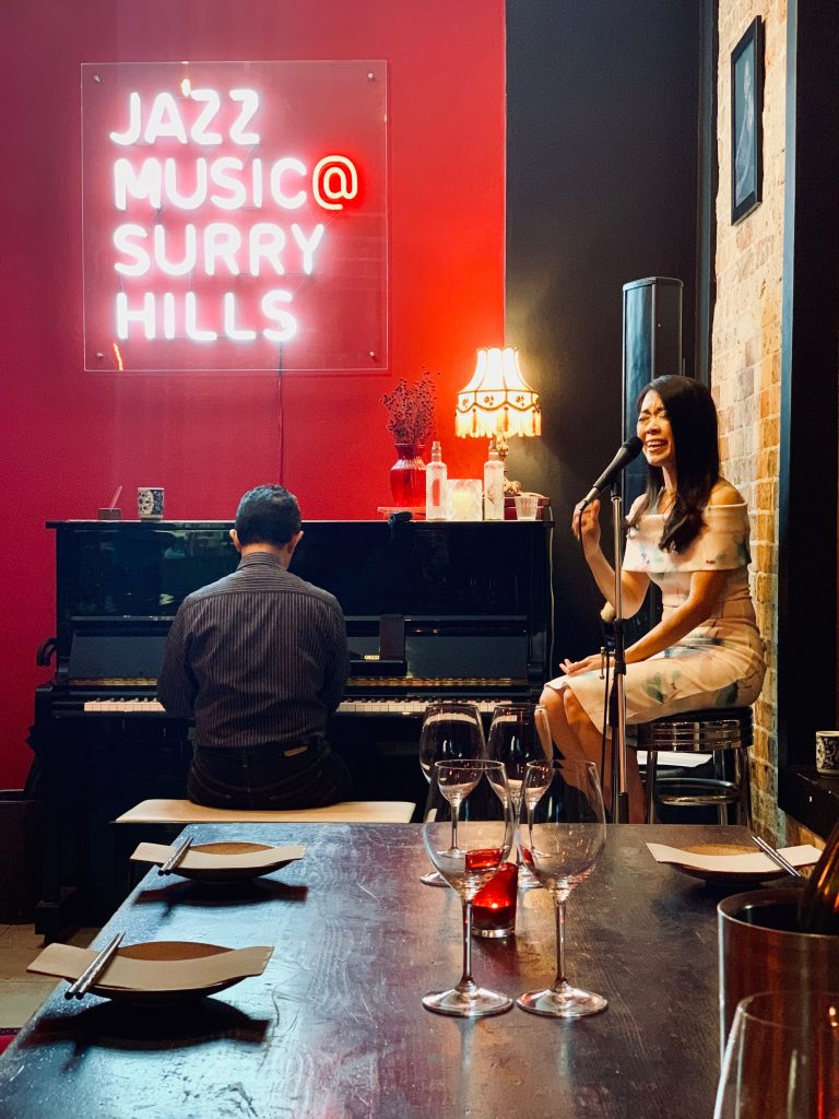 Performing as an acoustic duo in Jazushi Surry Hills, NSW